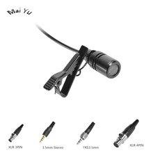 Microfone condensador com lapela preta, microfone para microfone, transmissor sem fio shure xlr mini