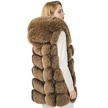 Жилет с капюшоном из натурального Лисьего меха, женский зимний толстый меховой жилет, женский жилет из натурального Лисьего меха