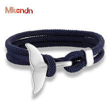 MKENDN Fashion Whale Tail Anchor Bracelets Men Multilayer Charm Rope Chain Bracelet Male Women Navy style Wrap Metal Sport Hook