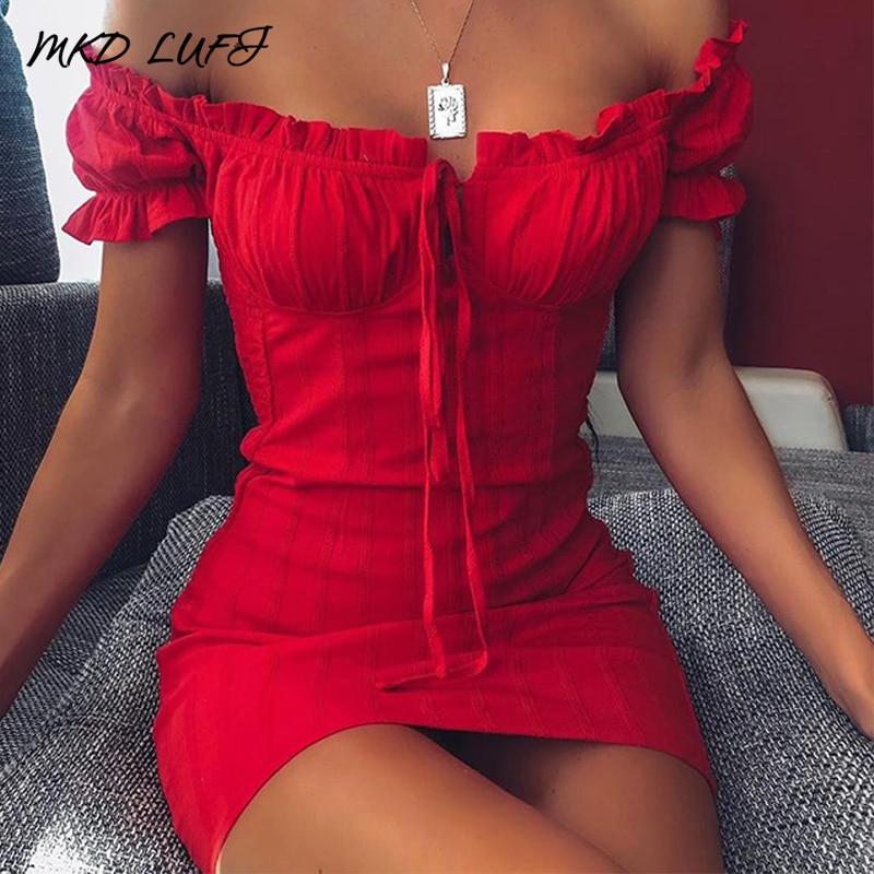 Sexy Off Shoulder Smocked Bodycon Dress Women Strapless Ruffles Mini Red Dresses Ladies Short Party Club Dress Vestidos