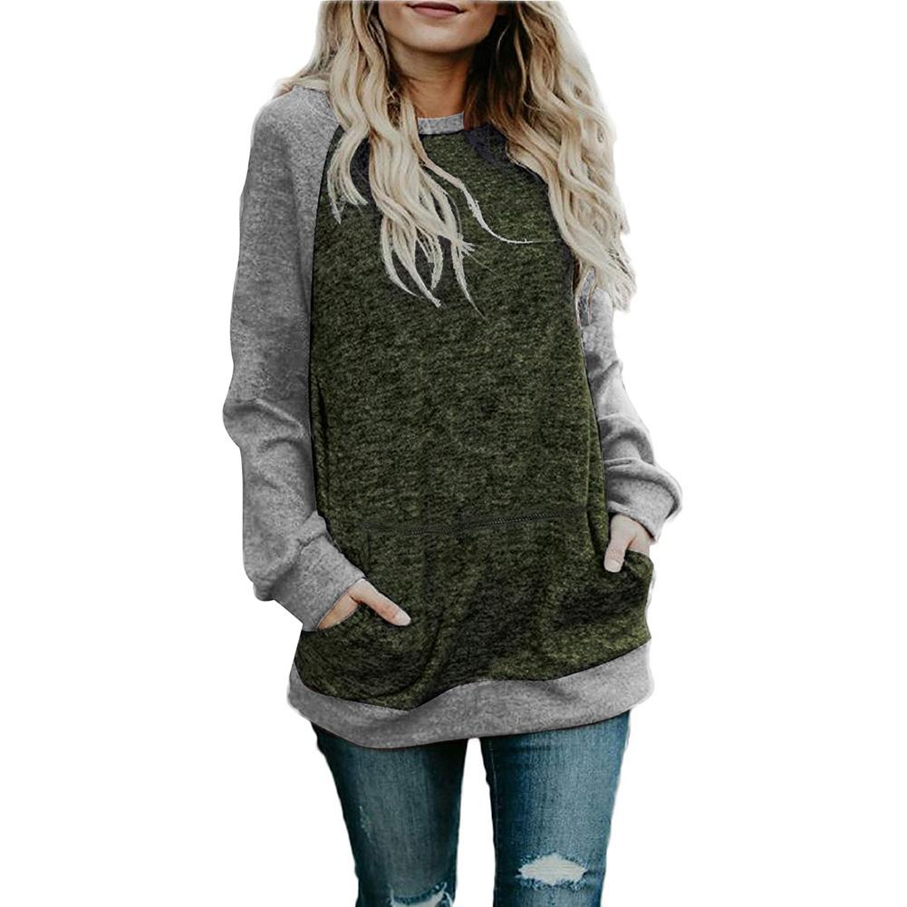 2020 Women Autumn Color Block Long Sleeve O Neck Knitted Shirt Pullover Sweater Top