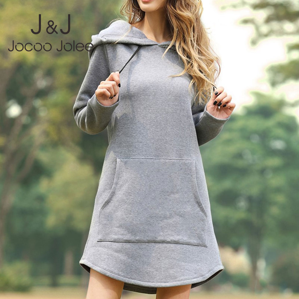 Jocoo Jolee Women Fashion Hoodies Dress Spring Solid Big Pocket Sweatshirt Korean Pop Hoody Casual Long Tops Plus Size Pullover