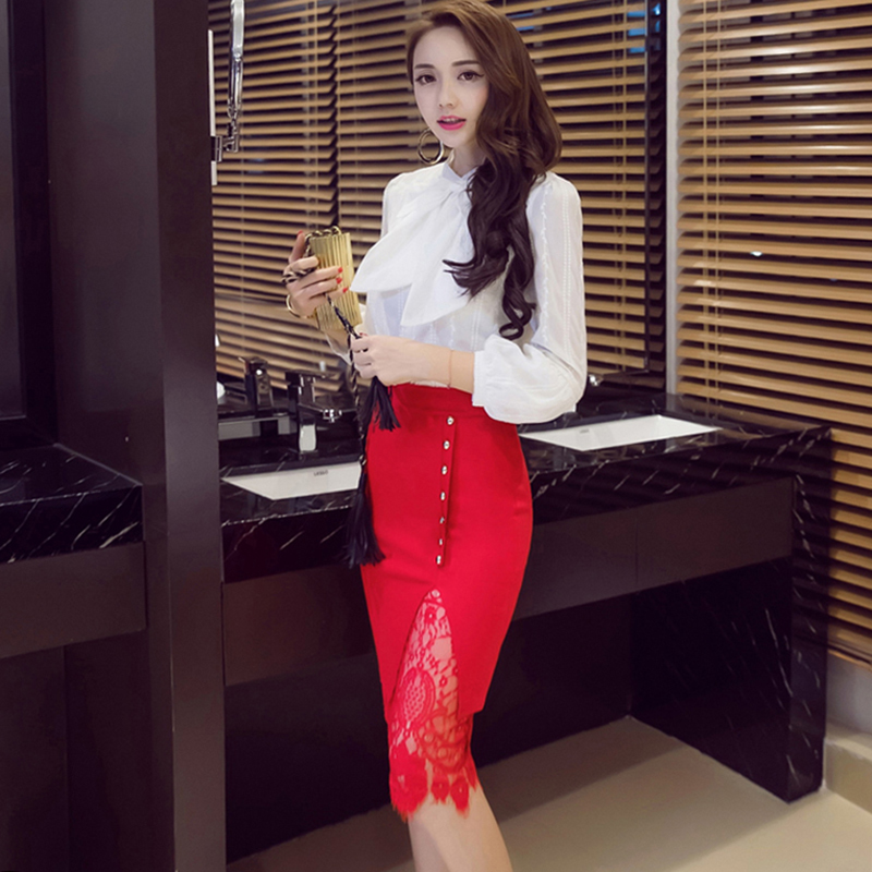High Waist Office Ladies Single-Breasted Female <font><b>Skirt</b></font> Plus Size <font><b>5XL</b></font> Solid Color Women <font><b>Skirt</b></font> <font><b>Sexy</b></font> Open Fork Lace <font><b>Skirt</b></font> image
