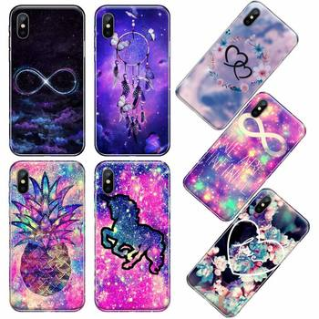 infinity on purple Shiny Phone Case For iphone 12 5 5s 5c se 6 6s 7 8 plus x xs xr 11 pro max image