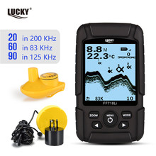 Russian menu!LUCKY FF718LiD Real-waterproof Fish Finder 200KHz/83KHz Dual Sonar Frequency 100M Detection Depth Alarm Detector