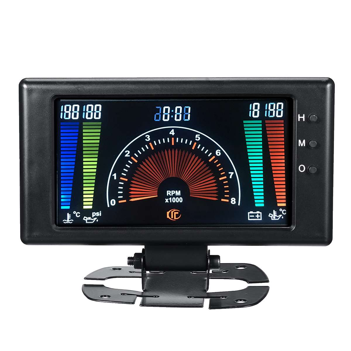 Nouveau compteur de voiture 8-18V 6 en 1 LCD voiture jauge numérique pression d'huile tension température de l'eau température de l'huile tachymètre RPM