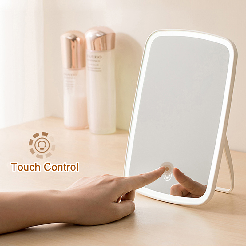 Portable Makeup Mirror LED Natural Light USB Refill Angle Adjustable Touch Control Brightness Dimmable Lights Women