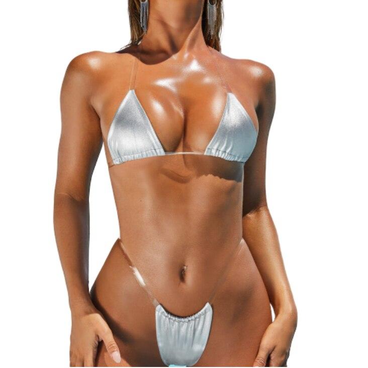 Transparent Bikini Micro Swimwear Sexy Women Silver Gold Reflective Bikinis Push Up Thong Brazilian Biquini Female Mini Swimsuit