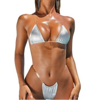 Transparent Bikini Micro Swimwear Sexy Women Silver Gold Reflective Bikinis Push Up Thong Brazilian Biquini Female Mini Swimsuit sexy bikinis woman swimsuit mini bikinis women swimwear backless thong beach wear brazilian biquini bathing suit micro bikini