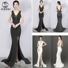 Skyyue Evening Dress Sexy Hollow Sleeveless Robe De Soiree Crystal Women Party Dresses 2019 V-neck Formal Gowns C134-DS2