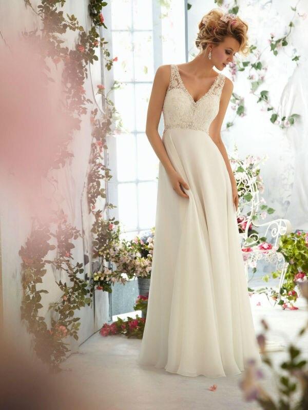 2018 New Style Free Shipping Beautiful Beaded Lace Bodice V-Neck Chiffon Wedding Dress Bridal Gown Custom Made Size