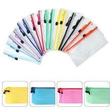 16pcs A6 Zipper File Bags Contract Storage Bag Transparent Mesh File Bags Documents Organizer Pouch File Folder (Random Color 24
