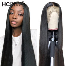 Human-Hair-Wigs Lace-Wig Pre-Plucked Black Straight Brazilian with 13x4 Remy HD for Woman