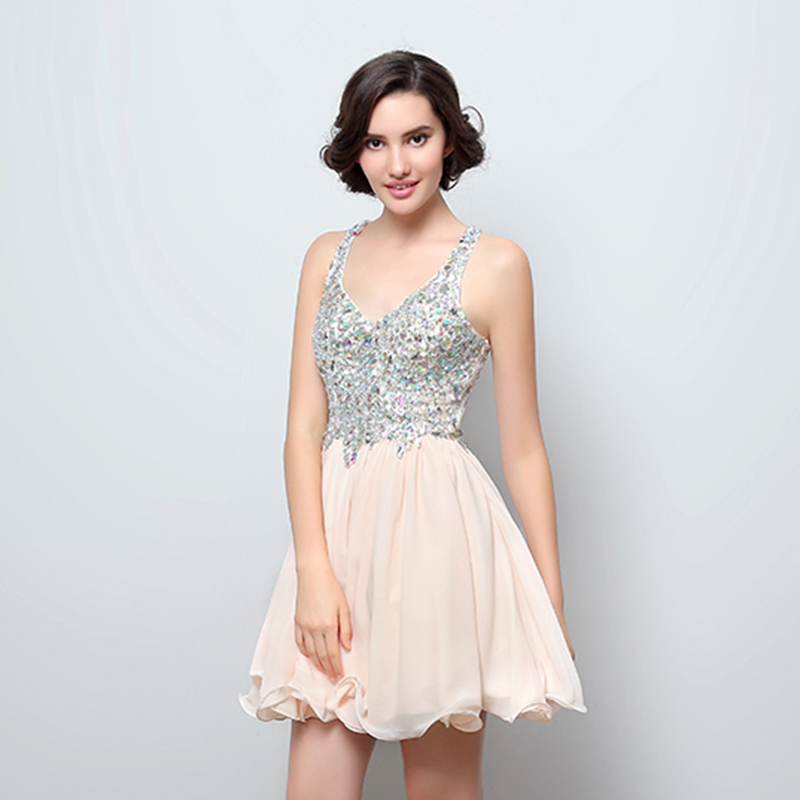 A-Line V-Neck Sleevless Knee-Length Short Homecoming Dresses With Crystal