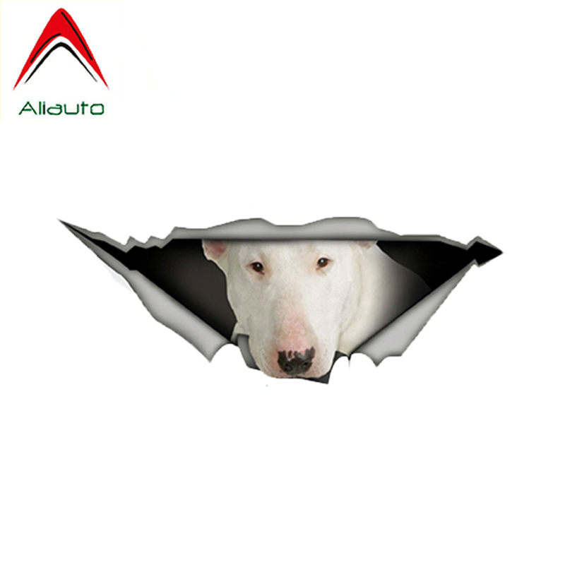 Aliauto Pet Dog Car Sticker White Bull Terrier Torn Metal Automobiles & Motorcycles Vinyl Decal Waterproof,13cm*5cm