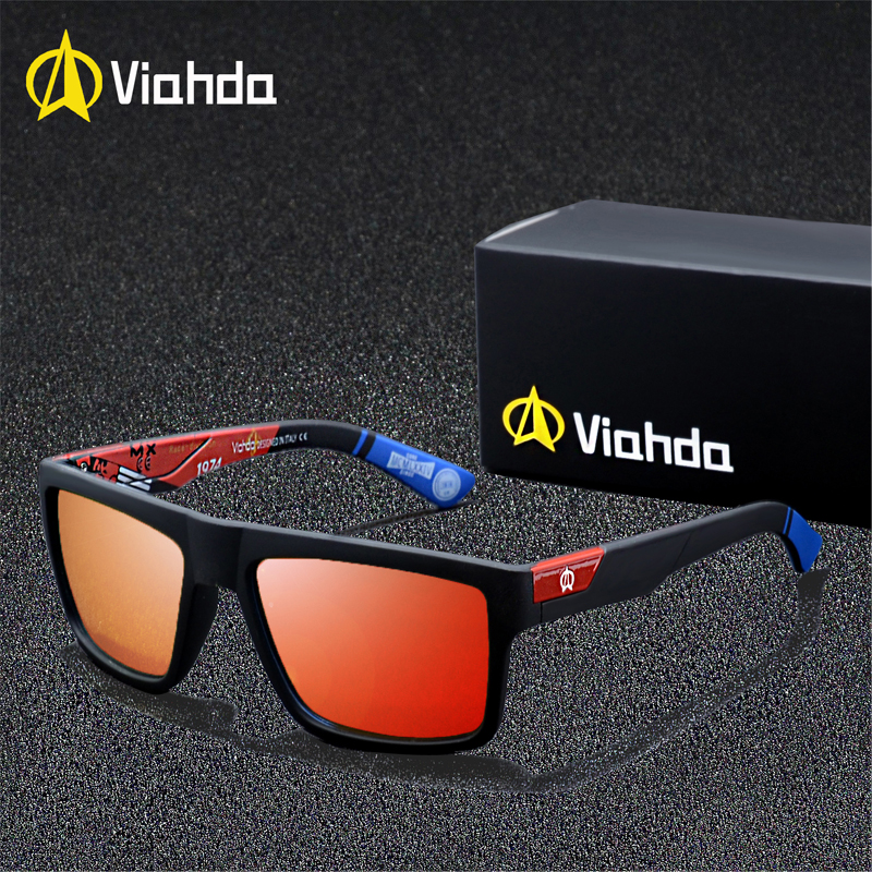 Viahda 2019 nova marca quadrada polarizado óculos de sol dos homens do esporte designer mormaii óculos de sol com caixa