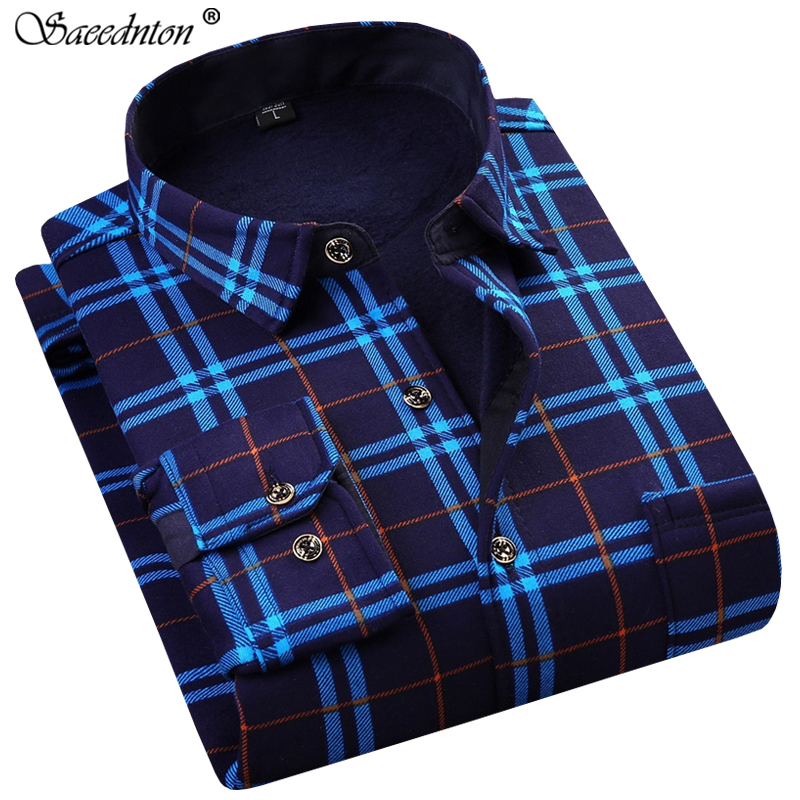 Camisa Social Masculina Men Dress Shirt 2019 Winter Long Sleeve Plaid Thick Warm  Fleece Shirt Fashion Soft Casual Flannel Shirt