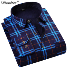 Camisa Social Masculina Men Dress Shirt 2019 Winter Long Sleeve Plaid Thick Warm  Fleece Fashion Soft Casual Flannel