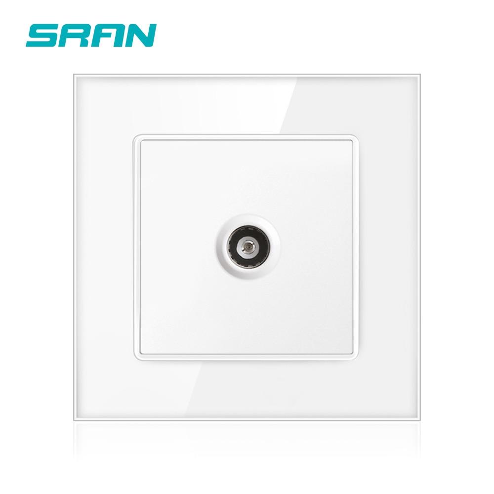 SRAN новая розетка для ТВ, домашнее украшение, настенная розетка для ТВ с сигналом доступа, 86 мм * 86 мм, кристалл, закаленное стекло, белый цвет, ...