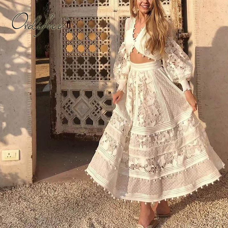 Ordifree 2020 Summer Boho 2 Piece Set Women White Lace Blouse Long Skirt Sexy Crop Top And Skirt Set