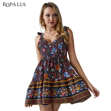Sling Dress Short Female Bohemian Bright Floral Print V-Neck High Waist Sexy Backless New Beige Red Green Black Blue Four