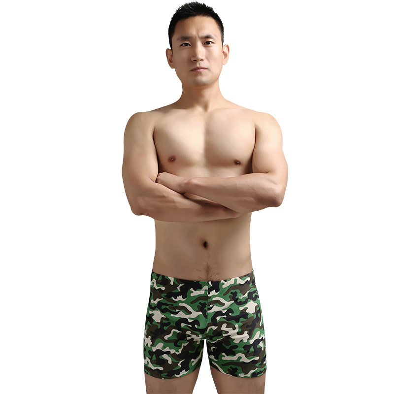 2020 MEN'S Swimsuit AussieBum Loose And Plus-sized Camouflage Swimming Trunks Men's Hot Springs-Style