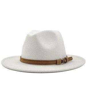 Women Men Wool Fedora Hat With Leather Ribbon Gentleman Elegant Lady Winter Autumn Wide Brim Jazz Church Panama Sombrero Cap(China)