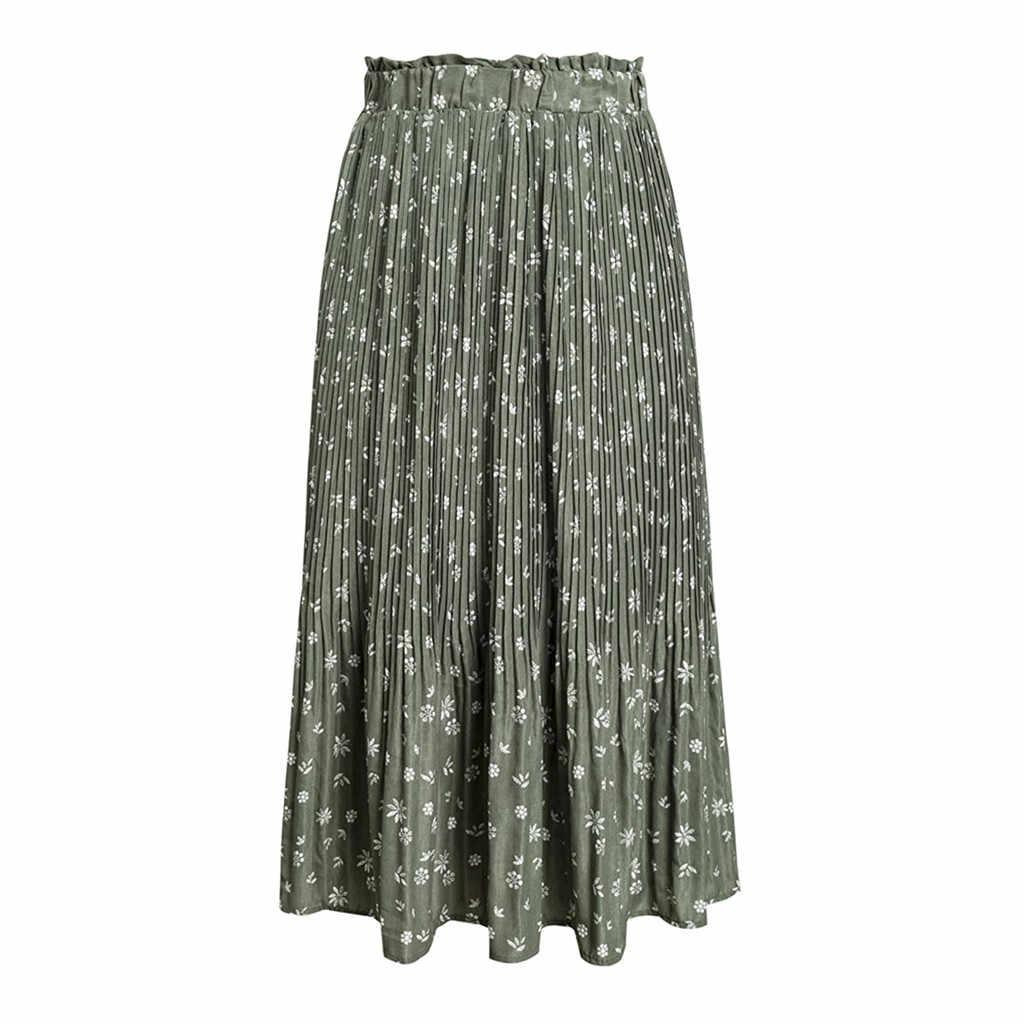 Vrouwen Herfst Plooirok Womens Vintage Hoge Taille Solid Lange Rokken Nieuwe Mode Dames Bloemenprint Strand Split Rok #1015