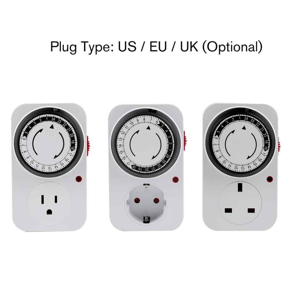 24 heures mécanique Programmable Plug in minuterie interrupteur intelligent compte à rebours intérieur arrêt automatique interrupteur prise