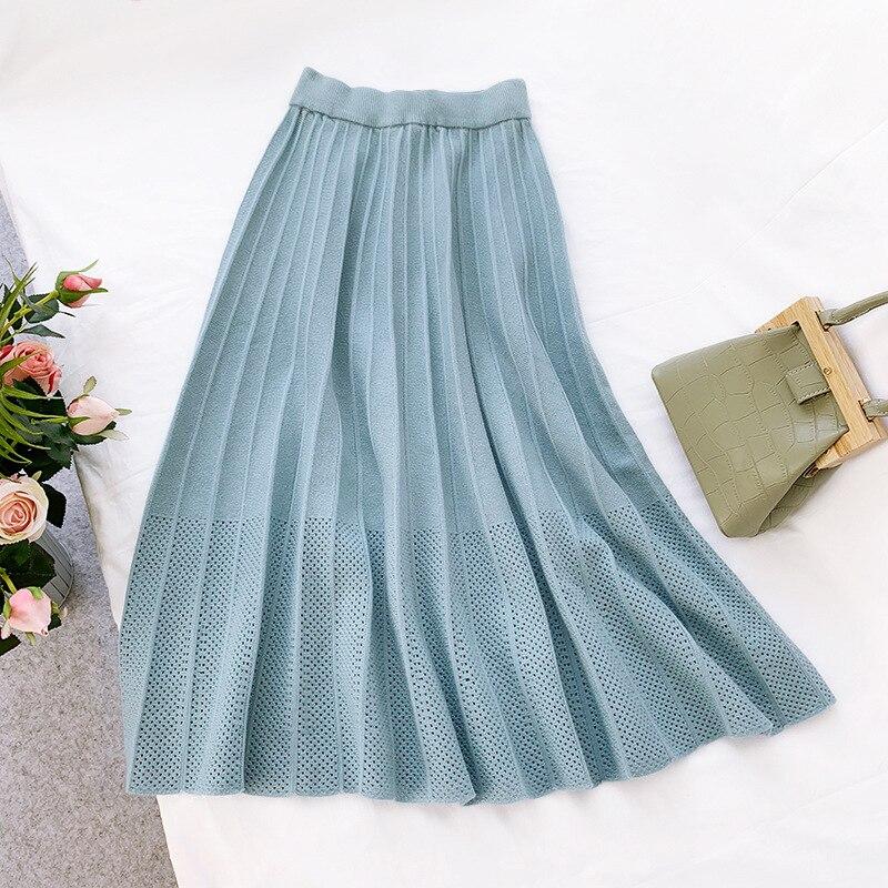 2019 High Waist Knitted Hollow Out Crochet Women Winter A-Line Pleated Skirt Fashion Women Long Skirt Faldas Jupe Femme Saia