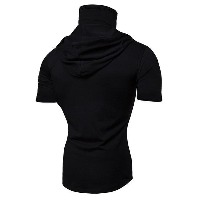 Fashion Short-Sleeved Mask Hooded T Shirt Men Casual Elastic Solid Fitness Tshirt Hip Hop Slim Fit Male T-shirt Streetwear M-3XL 3