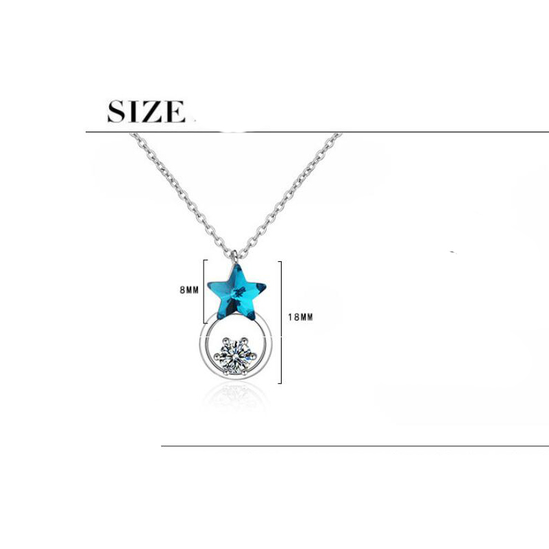 Купить с кэшбэком New Silver Color Blue Crystal Starry Pentagram Snow Lucky Pendant Necklace Clavicle Chain Delicate Fashion Jewelry Best Gifts