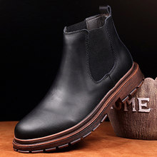 British style men casual cowboy boots natural leather tooling shoes platform chelsea boot vintage ankle botas zapatos de hombre(China)