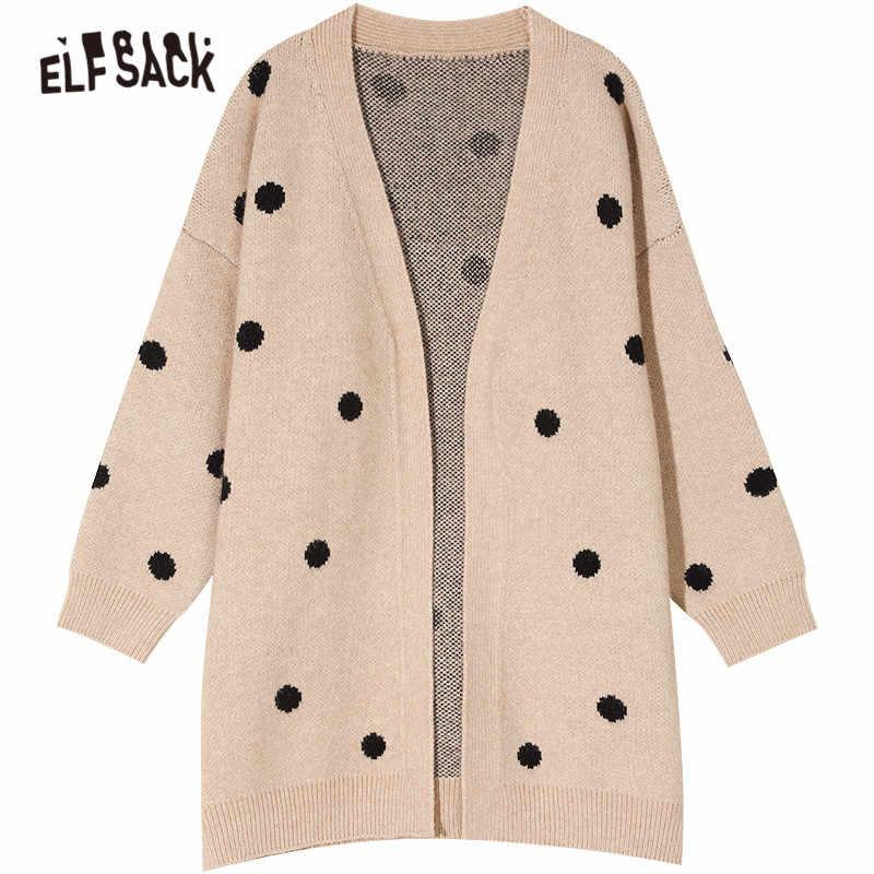 ELFSACK Red Solid Polka Dot Single Button Knit Casual Cardigan Women Sweaters 2019 Winter Beige Long Sleeve Korean Female Top