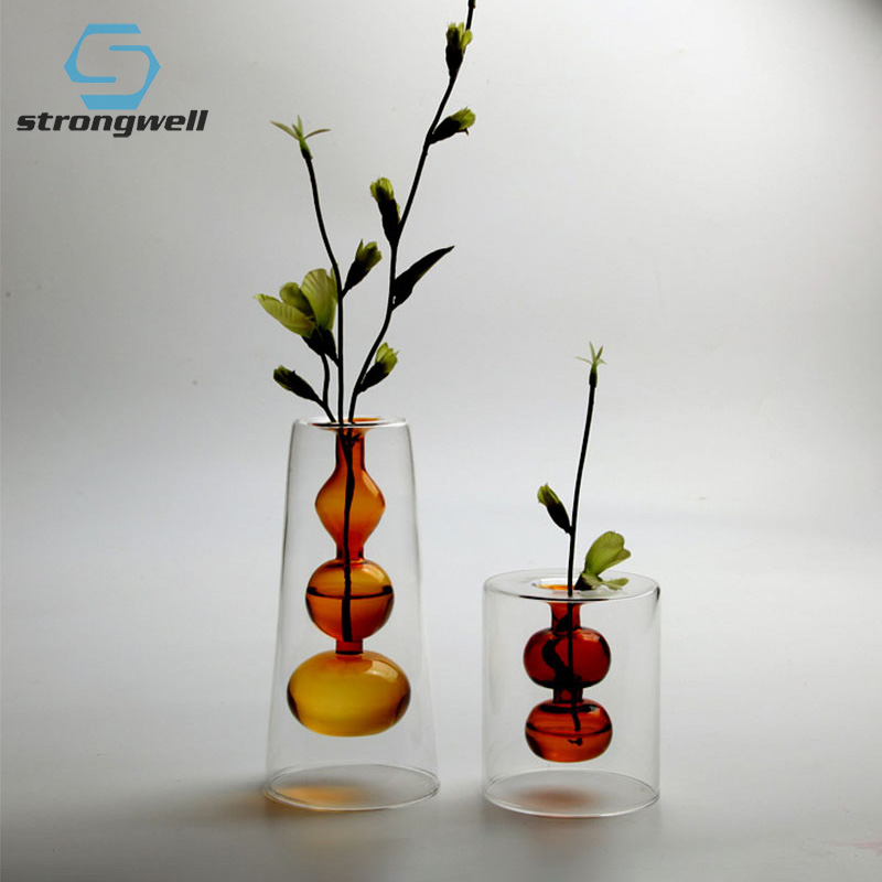 4.99US $ 45% OFF Strongwell Nordic Double Layer Color Glass Vase Desktop Hydroponic Flower Vase Orna...