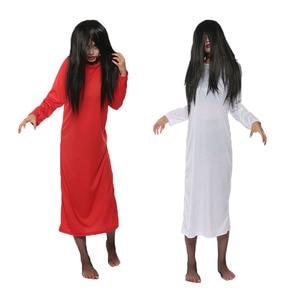 Biała czerwona solidna Plus rozmiar kobieta suknia Sadako Halloween Masquerade przerażające kostiumy z peruką panna młoda Terror sukienka dla kobiet