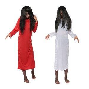 Branco vermelho sólido vestido de mulher tamanhos grandes sadako halloween masquerade trajes assustadores com peruca vestido de noiva terror para o sexo feminino