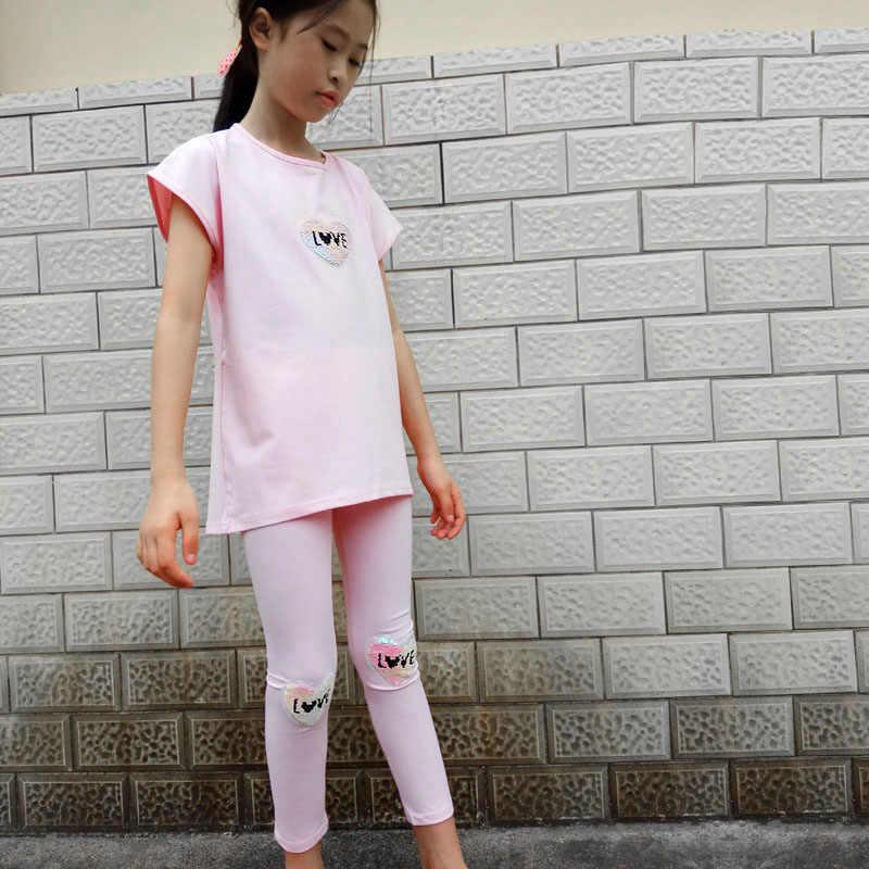 Kinderen Kleding Sets Zomer Meisjes Pailletten Pak Katoen Print Korte Mouw T-shirt + Broek 2 Stuks Meisjes Kleding 4 5 6 8 10 12 Jaar