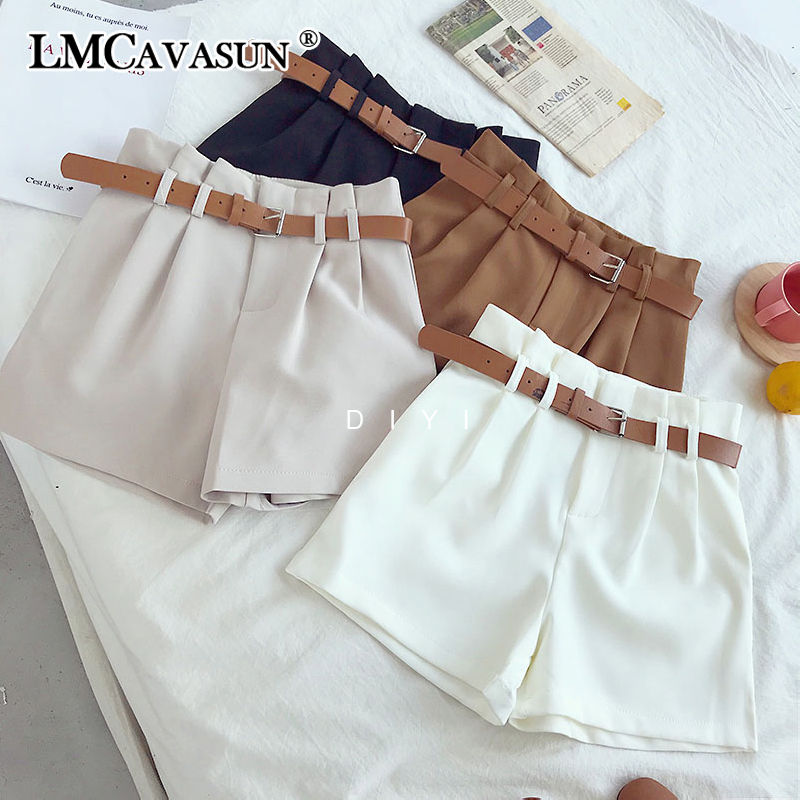 LMCAVASUN Korean Brief Design White Suit Shorts For Women 2019 Fashion Solid High Waist Wide Leg Shorts With Belt 5 Colors