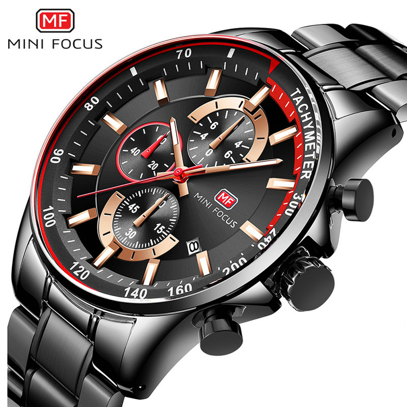 Top Brand Luxury Blue Quartz Watch Men MINI FOCUS Multifunction Chronograph Sport Fashion Wristwatch Waterproof 2019 Hot Clock