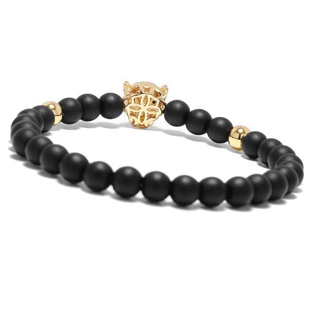 Bracelet tête de loup Viking Onyx perles brin  6
