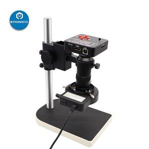 Цифровой электронный микроскоп, камера 38 МП, 14 МП, 16 Мп, HDMI, USB, объектив 180X C, кольцевой светильник 56LED для телефона, ремонт пайки печатных плат