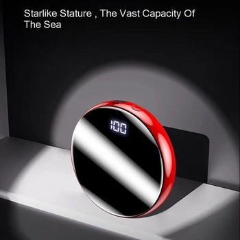 Vogek Mini Power Bank Mirror Screen10000mAh Portable Charging PowerBank USB Digital Disply External Battery Charger