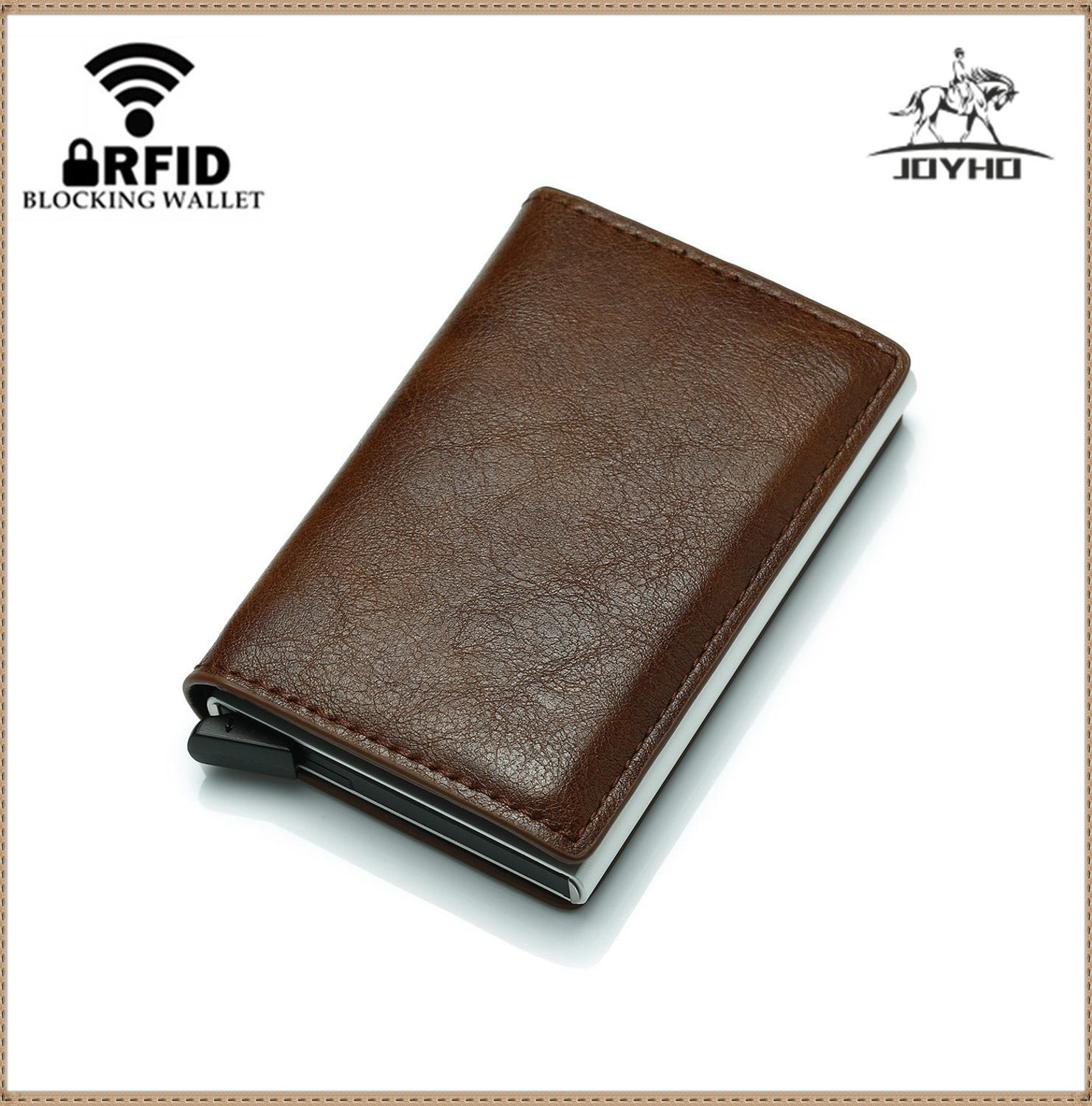 Aluminium Rfid Wallet Card Holder Coin Purse Men's Wallet Slim Small Male Leather Wallet Mini Pocket Money Bag Women Card Wallet title=