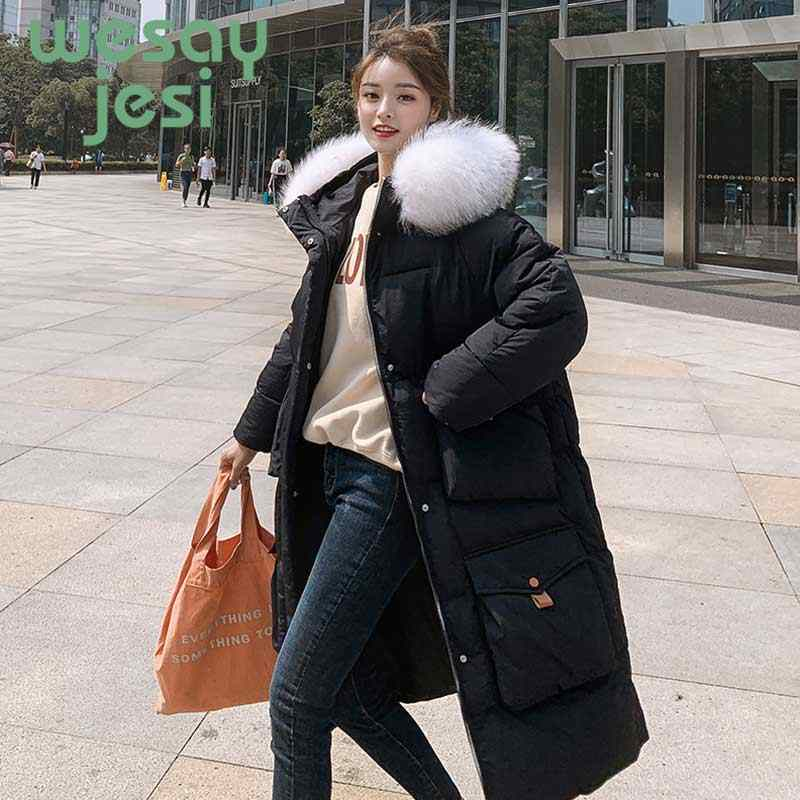 Winterjas Vrouwen lange Dikke Jas bontkraag Warm Hooded Parka Mujer 2019 Katoen Gevoerde volledige mouwen casual Vrouwen jas Jas