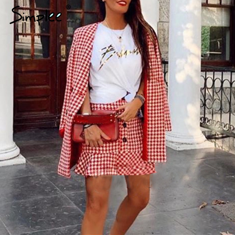 Simplee Double Breasted Plaid Two-pieces Women Skirt Suit Casual Streetwear Female Suit Sets Fashion Office Ladies Blazer Suits