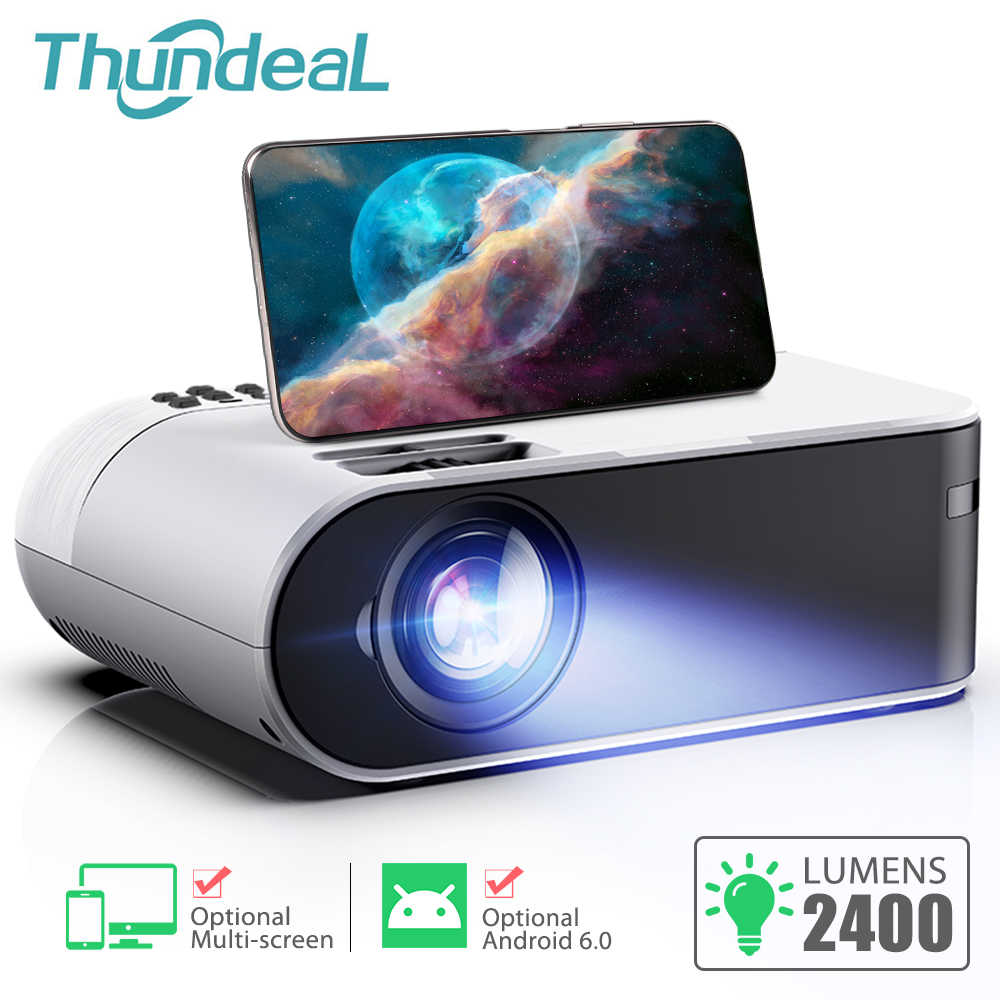 Thundeal TD60 Mini Projector Draagbare Wifi Android 6.0 Home Cinema Voor 1080P Video Proyector 2400 Lumens Telefoon Video 3D beamer