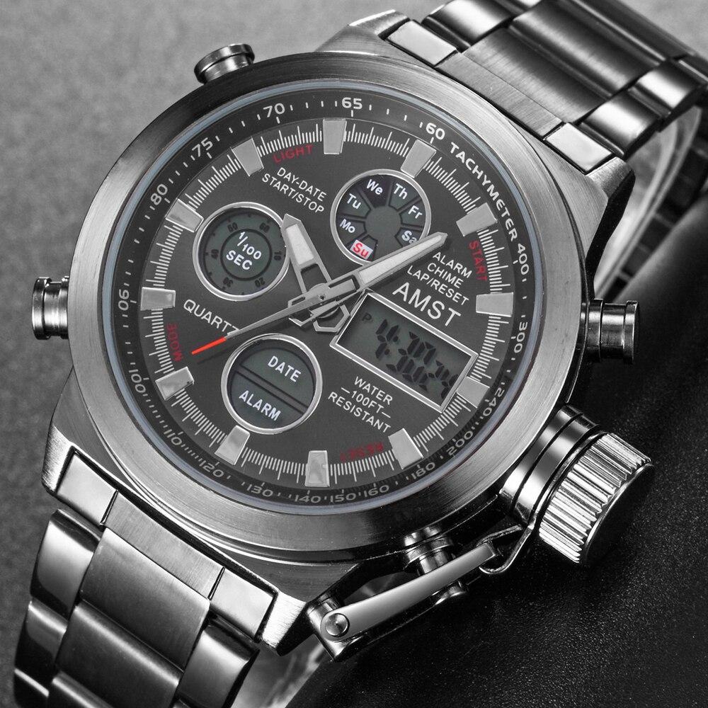 Image 2 - AMST Sport Military Watches Men Waterproof 50M Clock Chronograph Luminous Hands Stop Watch Men Analog Digital Watch Male RelogioQuartz Watches   -