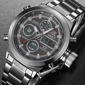 Image 2 - AMST spor askeri saatler erkekler su geçirmez 50M saat Chronograph aydınlık eller dur izle erkekler Analog dijital saat erkek Relogio