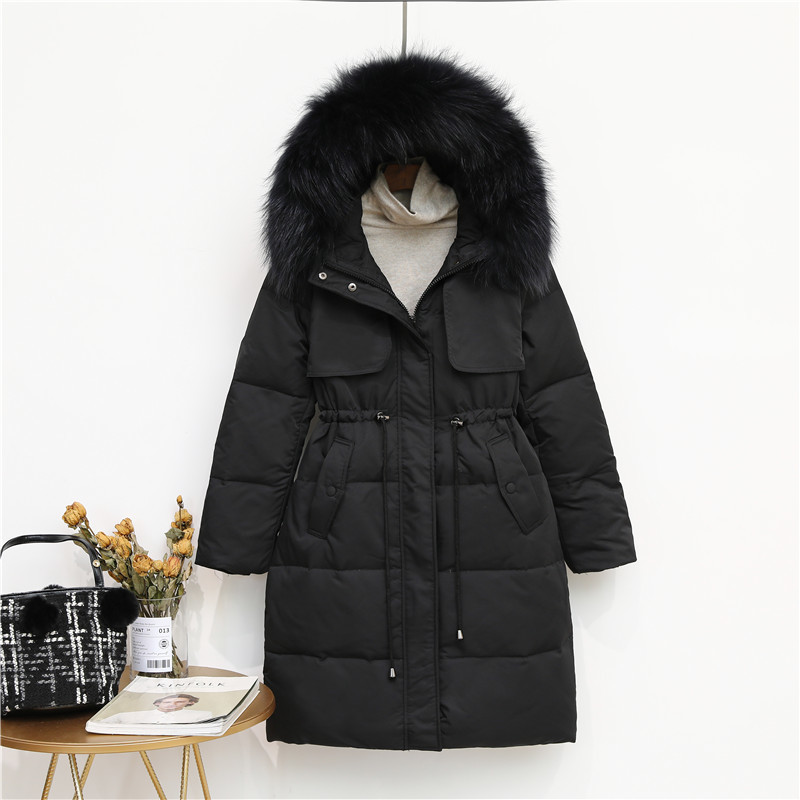 Brand Women's Down Jacket Natural Raccoon Fur Hooded Winter Coat Female Clothes 2019 Warm Duck Down Jacket Hiver LW1625